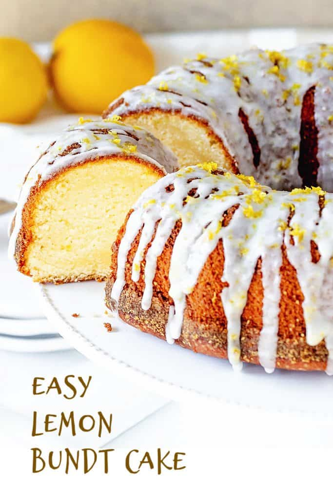 Half view of glazed lemon bundt cake with cut slice on white background; brown text overlay