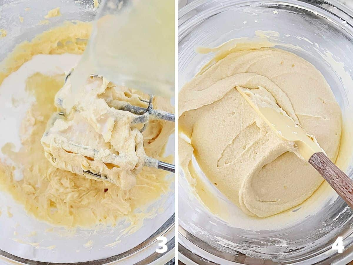 Collage showing cake batter in glass pan and beaters, before and after adding liquid