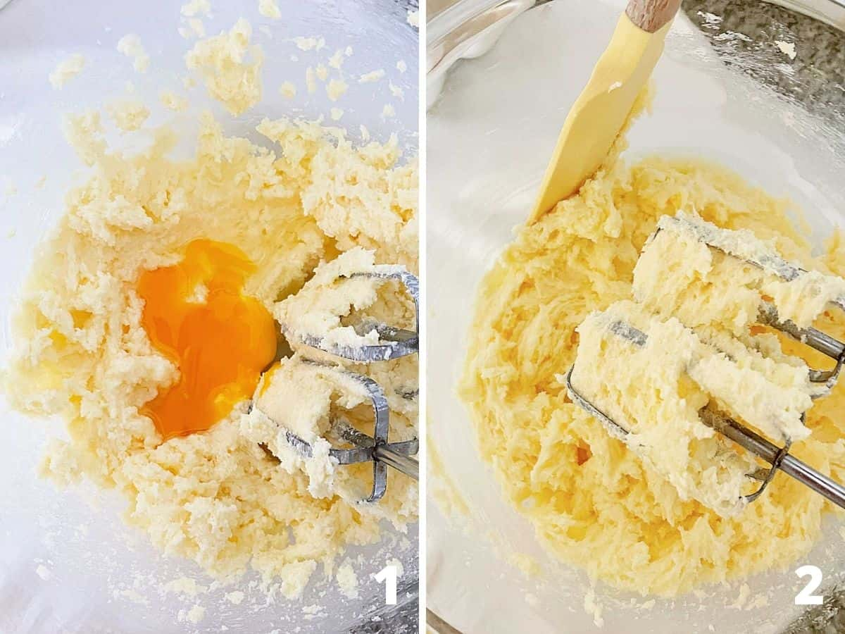 Making cake batter collage: adding eggs and scraping sides with yellow spatula