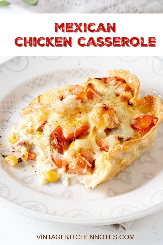 A white plate with portion of chicken, corn and tomato casserole; red text overlay