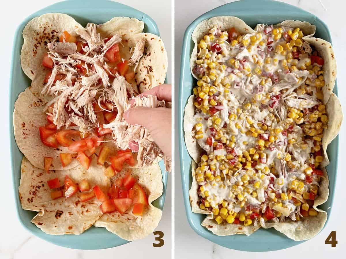 Blue rectangular dish with hand layering tomato and chicken, after adding corn and cream