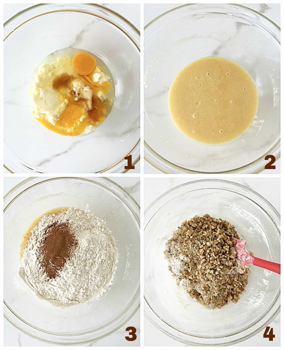 Collage making cinnamon dough. Glass bowl with butter and eggs, added dry ingredients, a red spatula