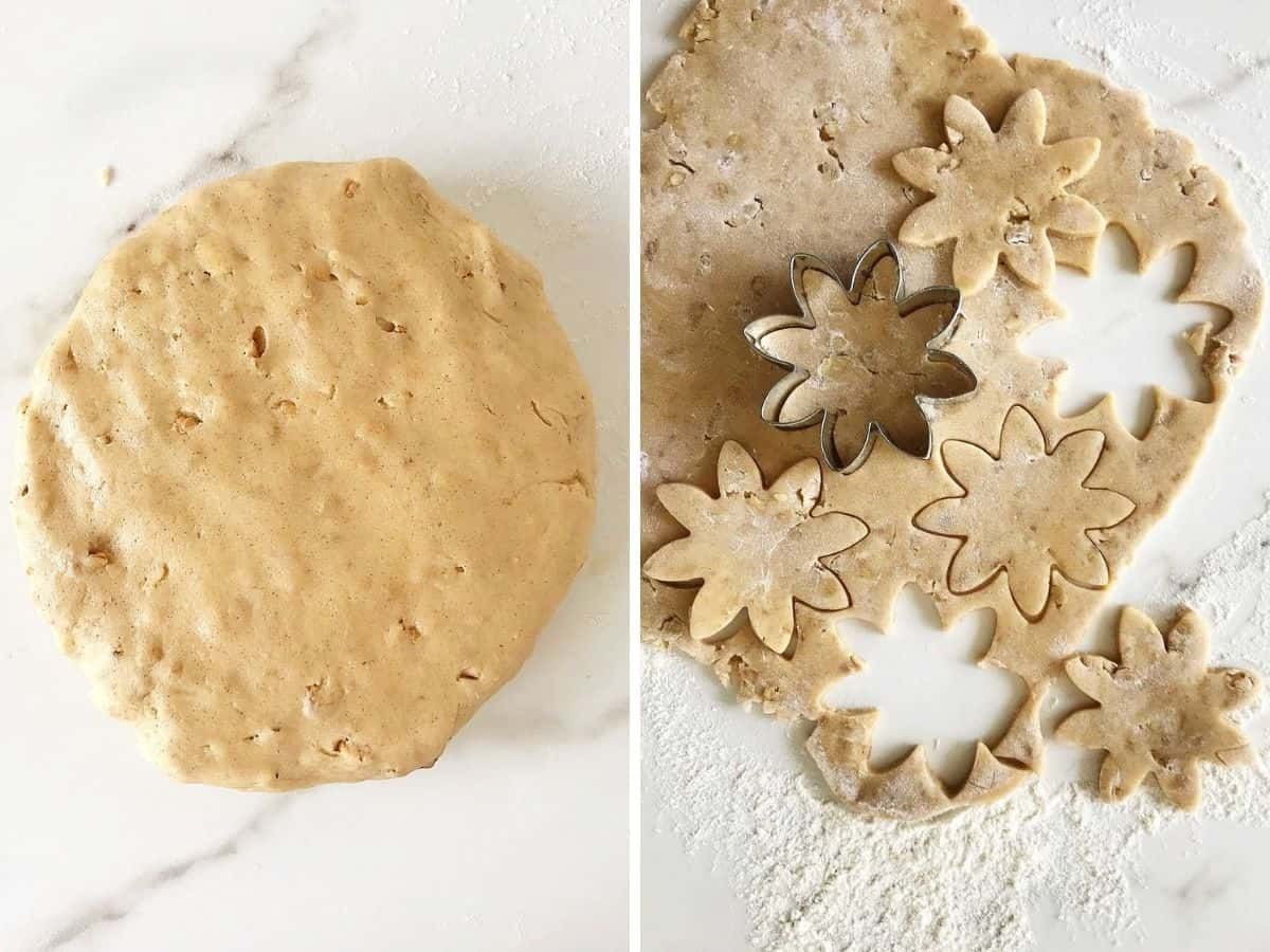 Collage showing round of cinnamon dough on white surface and rolled with cut-outs