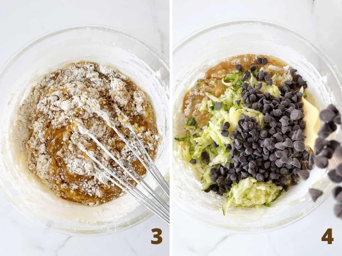 Whisking flour into muffin mixture and adding grated zucchini and chocolate chips, a collage