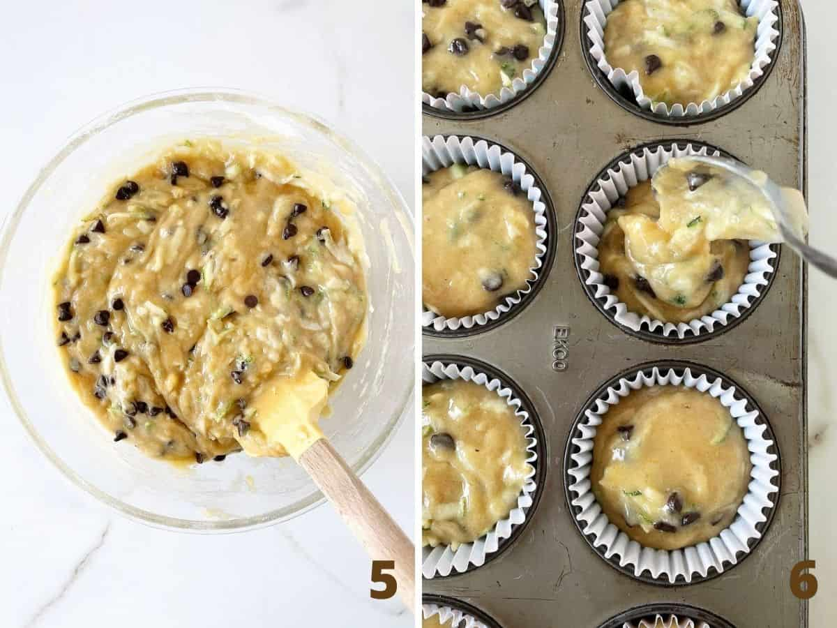Glass bowl with zucchini muffin batter on white surface and spooning batter into muffin tin