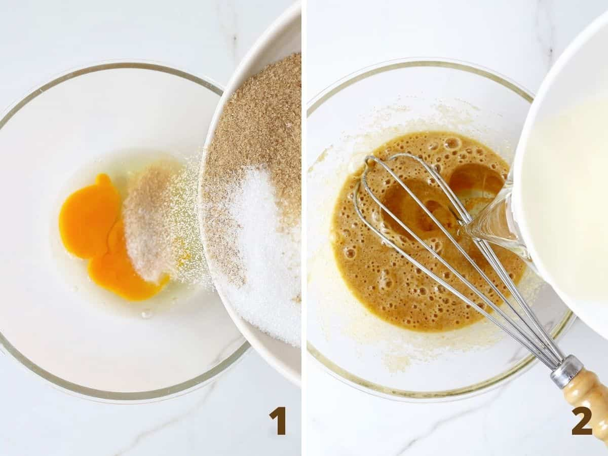 Collage showing eggs, sugar and oil being whisked in glass bowl on white surface