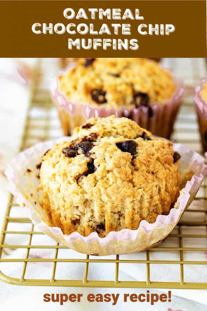 Row of muffins with chocolate chip on wire rack; brown text overlay