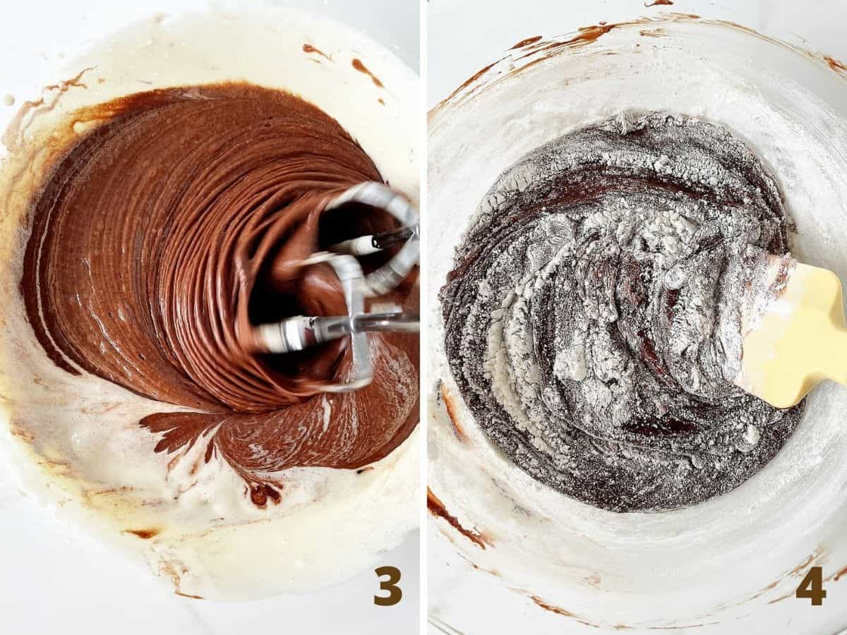 Mixing chocolate with vanilla batter, and after flour is added, glass bowl, beaters, yellow spatula