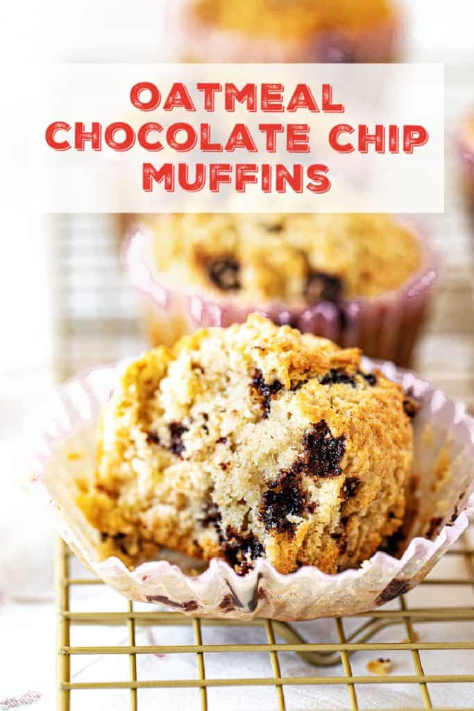 Close up of eaten chocolate chip muffin in paper liner on wire rack; red text overlay