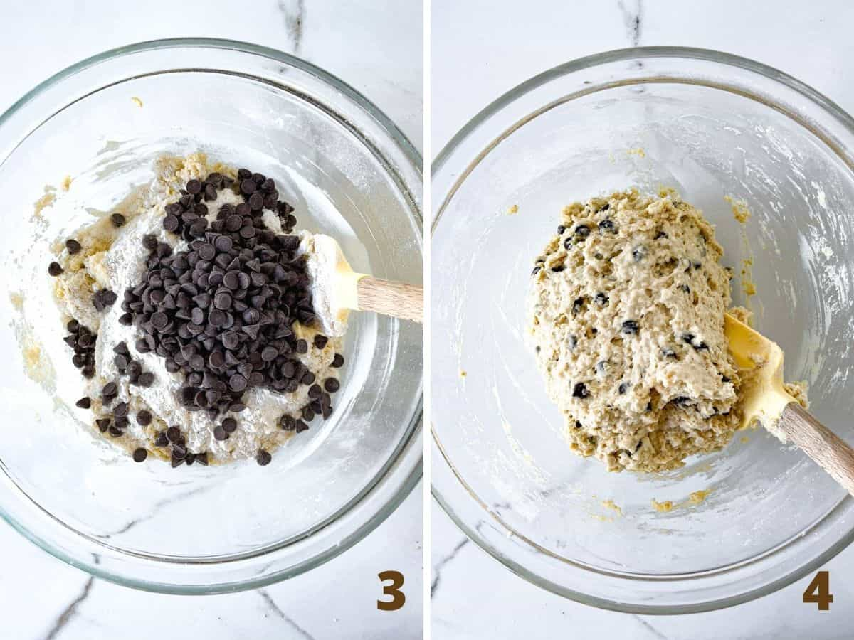 Collage showing glass bowl with oatmeal chocolate chip muffin batter before and after it's mixed