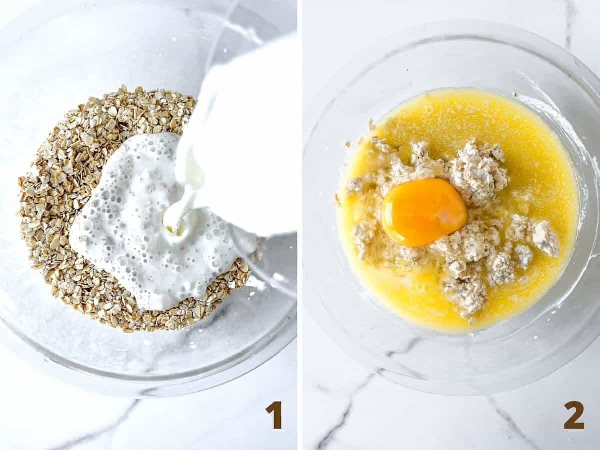 Mixing buttermilk with oats in glass bowl, adding egg and butter; a collage