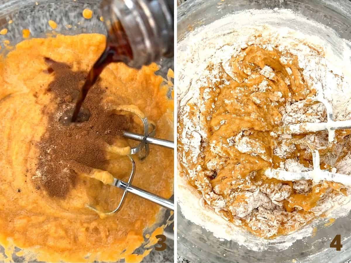 Adding spices and vanilla to pumpkin bread batter, and mixing in flour with beaters