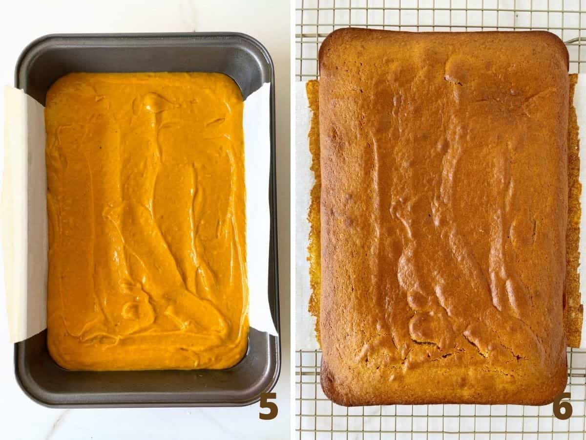 Pumpkin cake in rectangular metal pan before and after it's baked