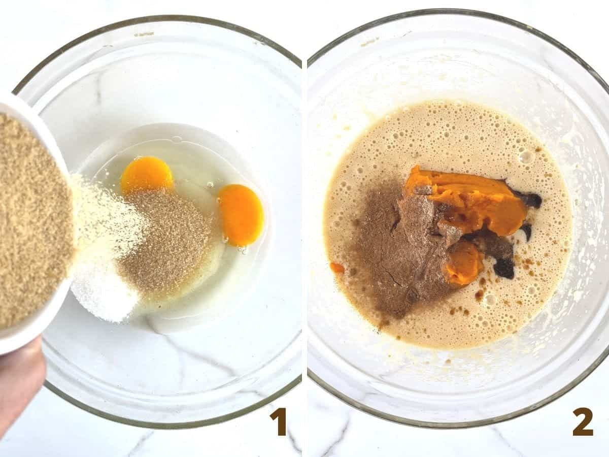 Collage adding sugars to glass bowl with eggs and adding pumpkin puree and spices