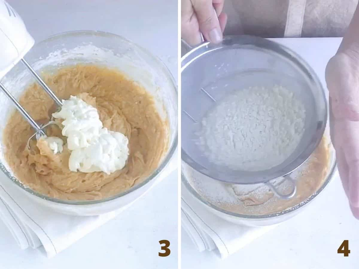 Collage with bowl containing pumpkin cake batter, adding sour cream, sifting flour over it