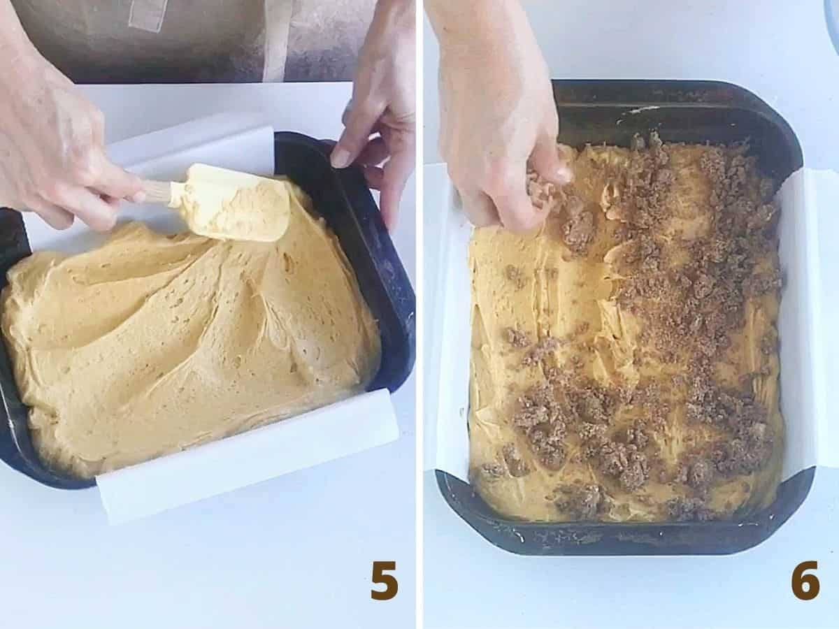 Spreading pumpkin cake in metal pan and adding cinnamon crumble on top, a collage