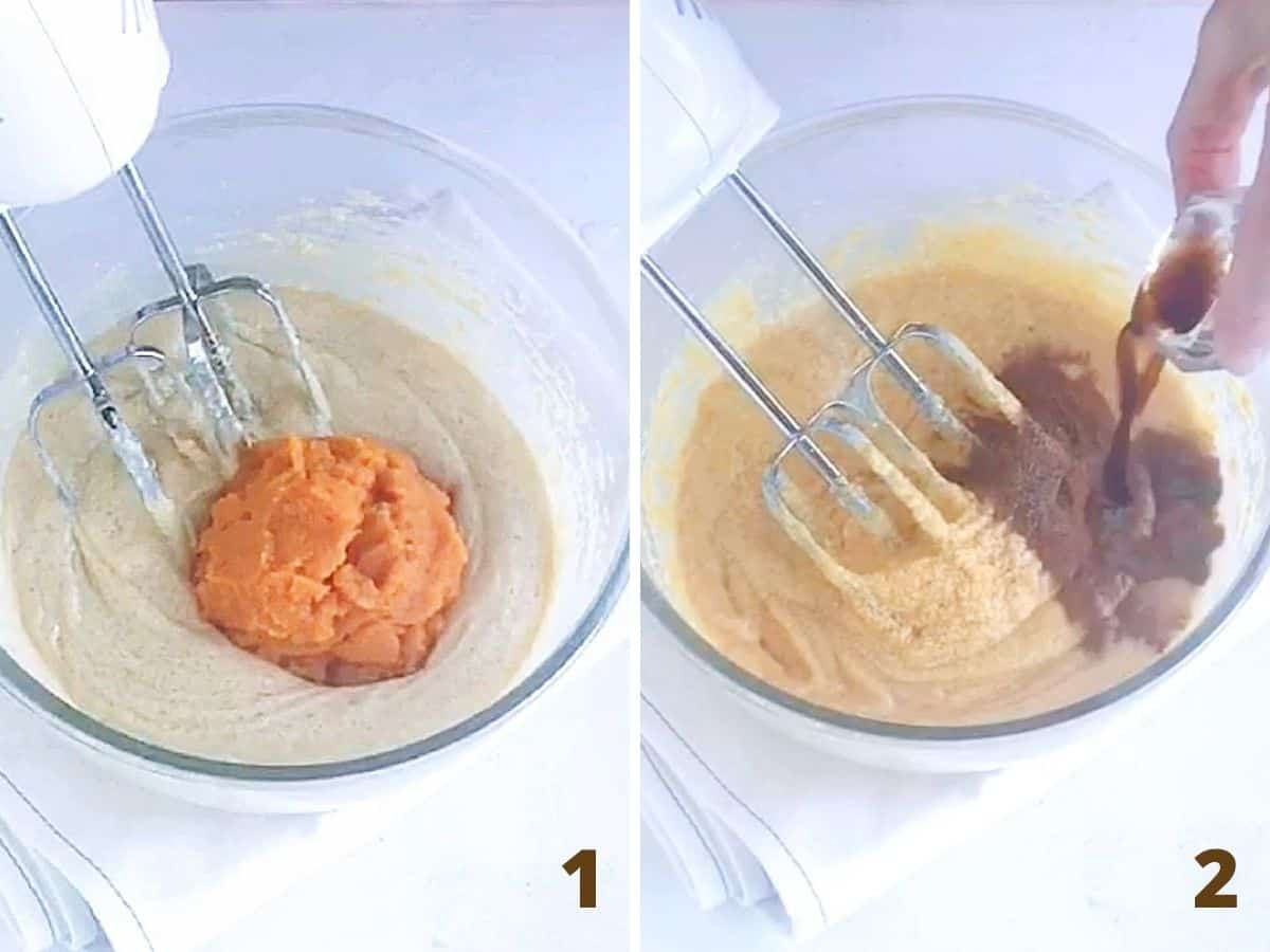 Glass bowl with pumpkin cake batter, adding spices, beaters; a collage