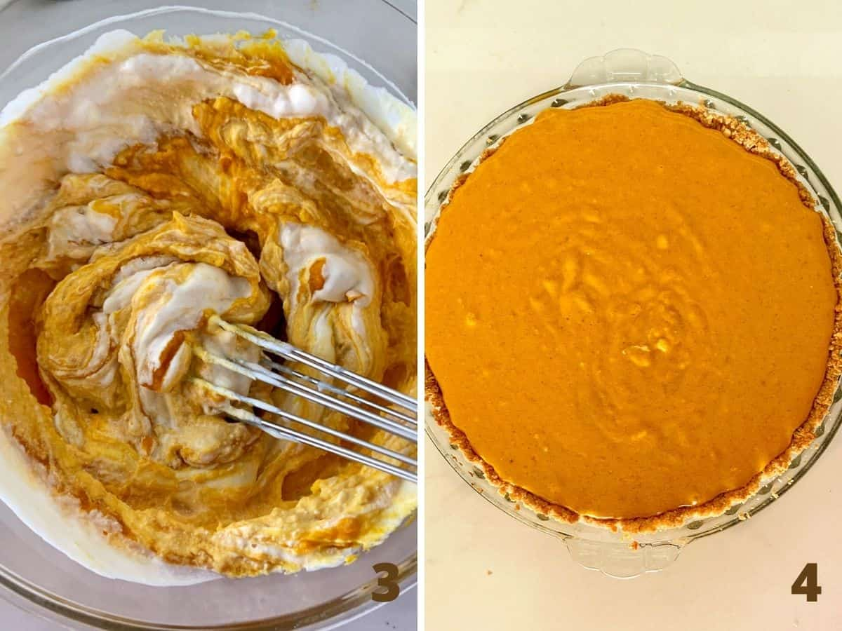 Two image collage showing bowl with pumpkin filling and batter in pie plate with crust