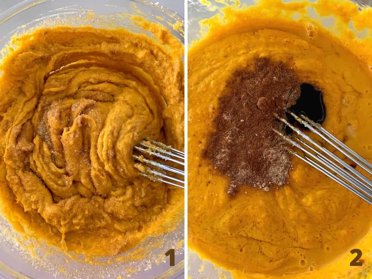Mixing pumpkin pie filling in glass bowl with whisk, adding spices; image collage