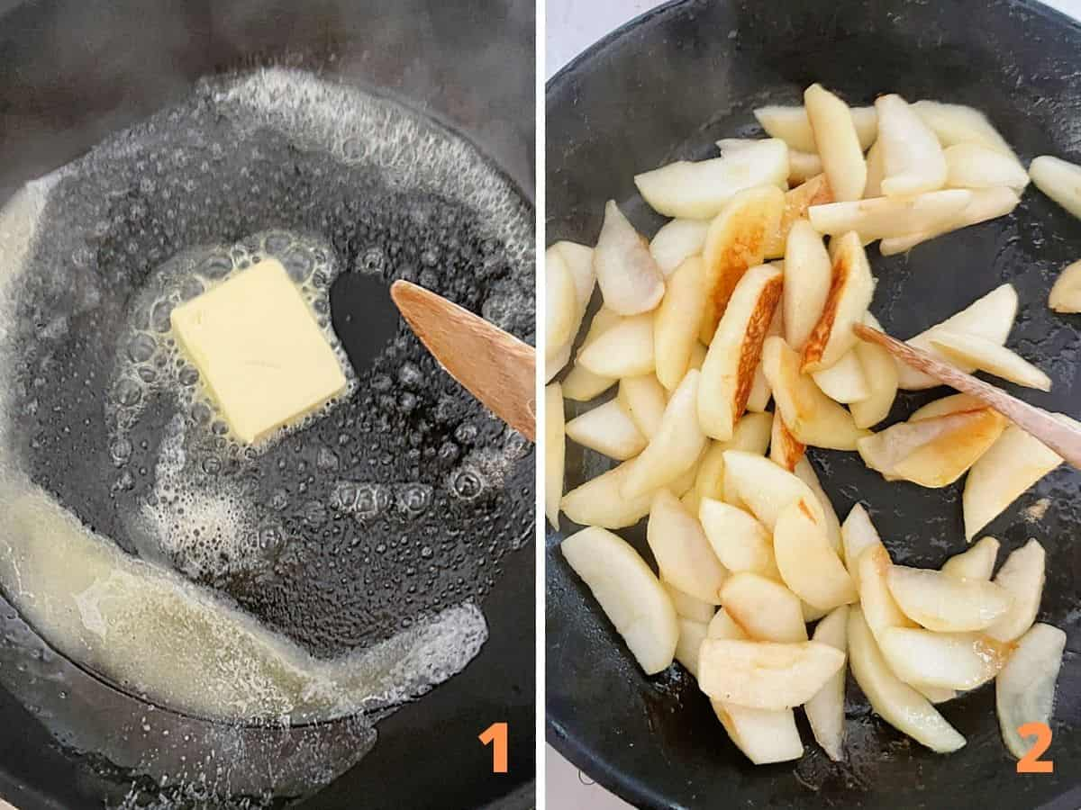 Butter being melted in skillet, and apples after being cooking in it