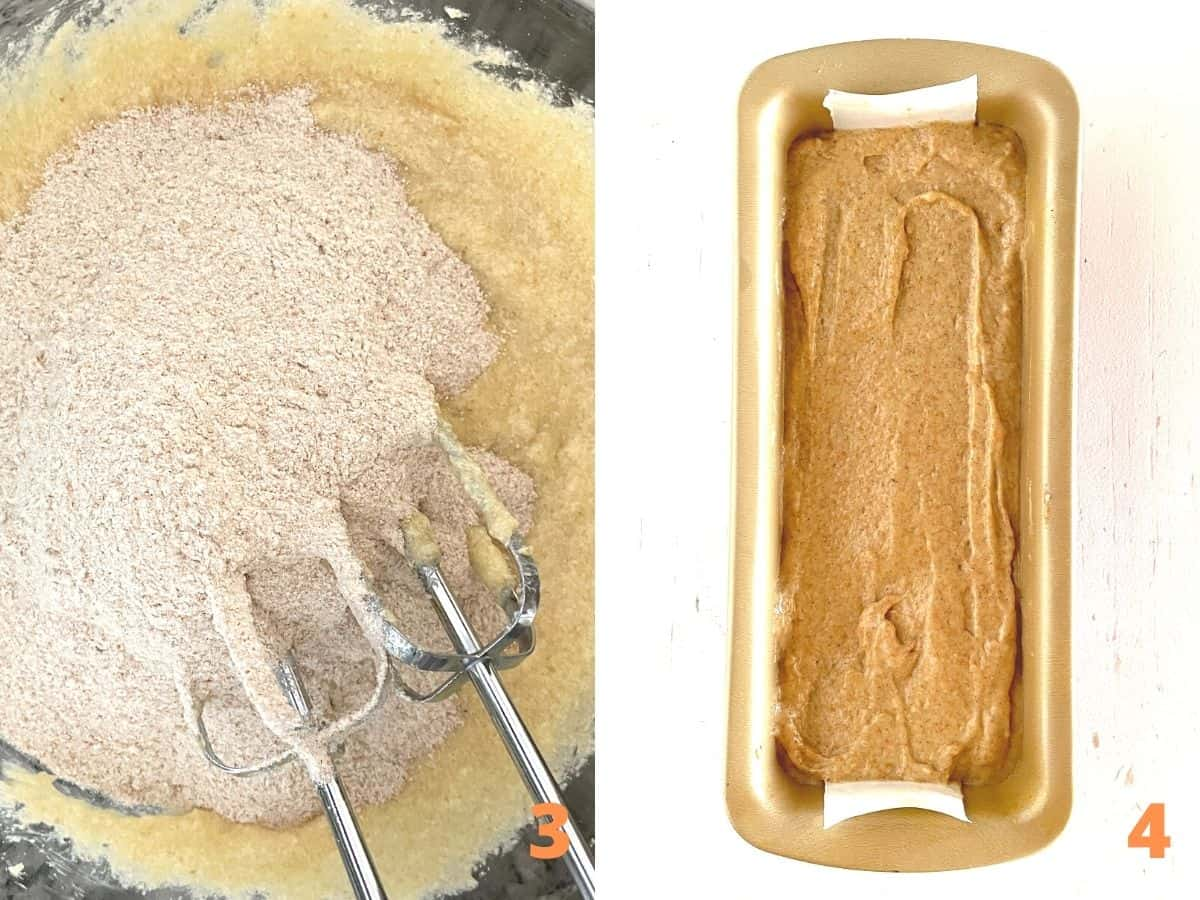 Two image collage with applesauce bread process: adding flour to batter, loaf pan with unbaked mixture