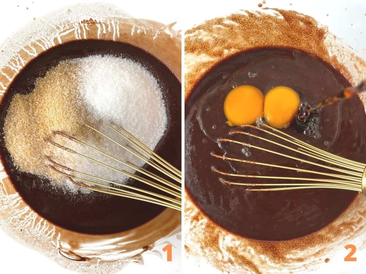 Collage showing process of mixing chocolate, sugar and eggs for muffin batter with golden whisk