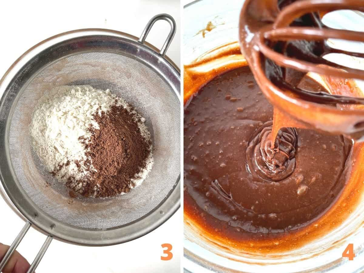 Two image collage showing sifter with flour and cocoa, and final chocolate batter in glass bowl
