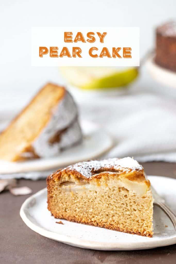 Slices of pear cake on white plates, orange text overlay