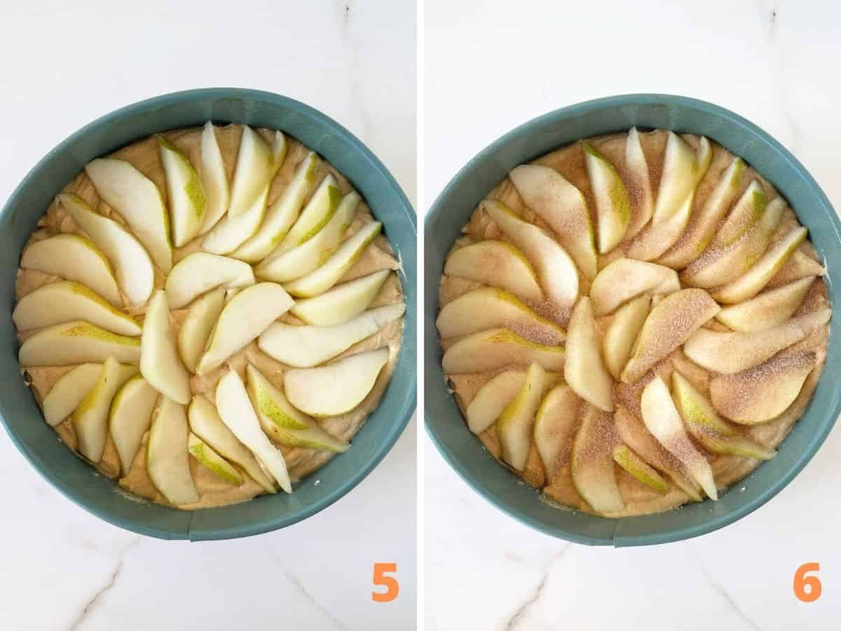 Round blue pans showing cake pear with and without cinnamon sugar on top, white surface
