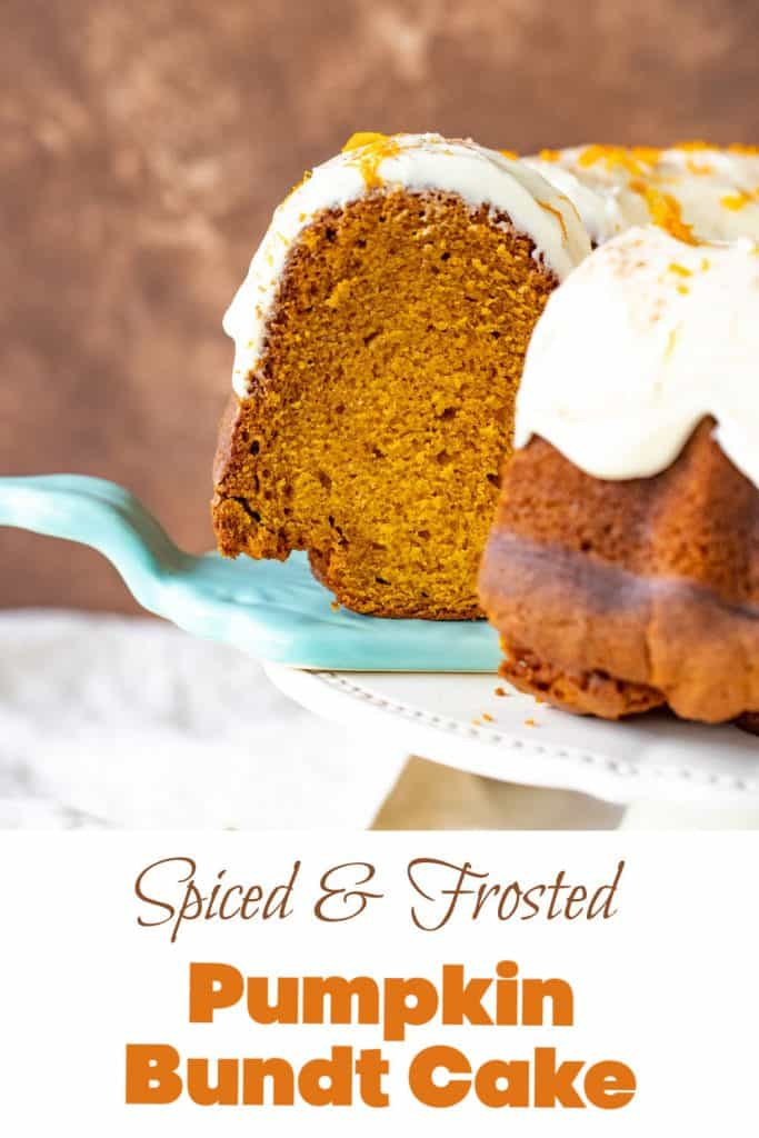 Blue cake server with slice of pumpkin bundt cake, cake on server, orange text overlay