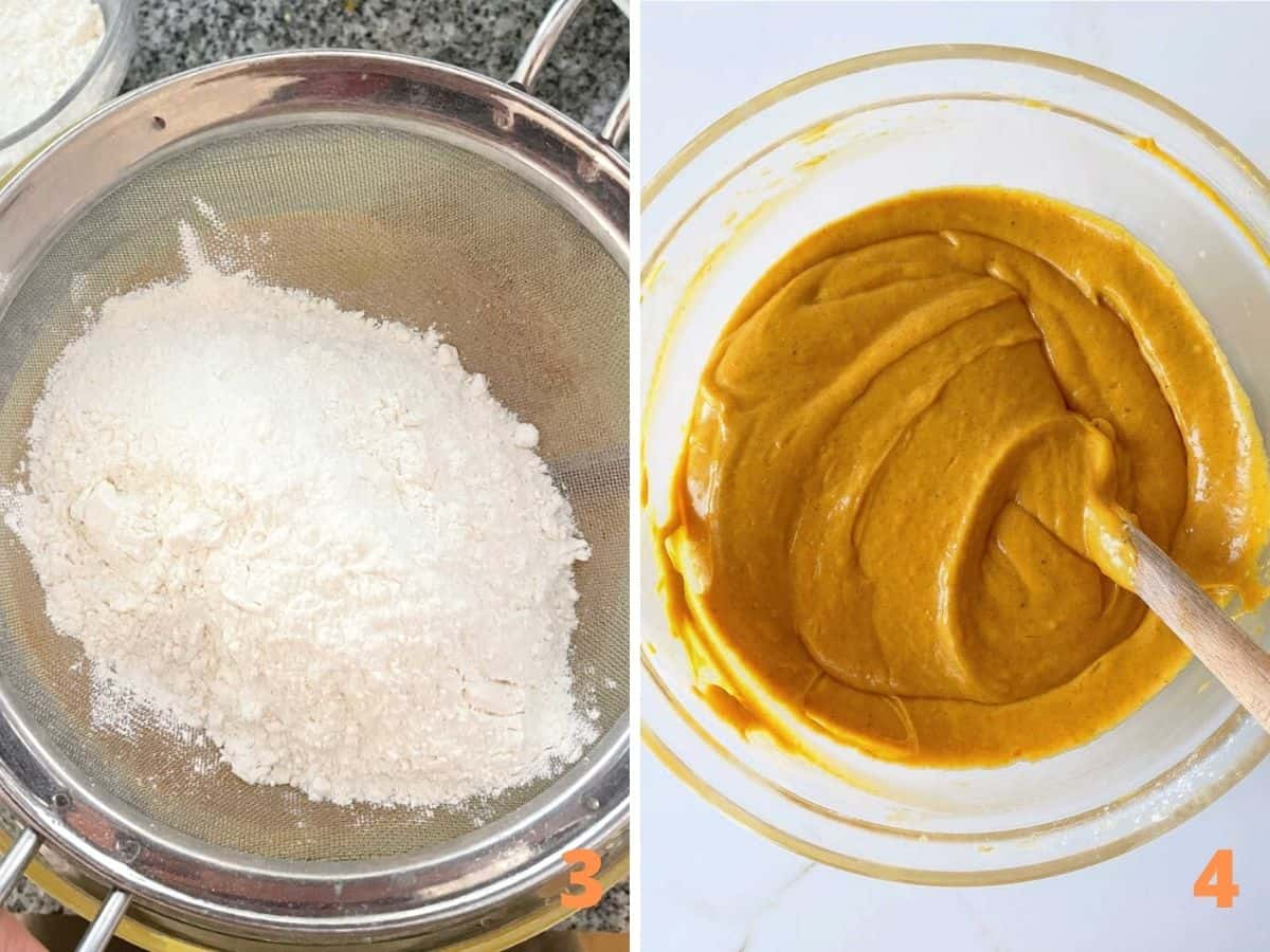 Sifter with flour mixture and pumpkin cake batter in glass bowl with spatula